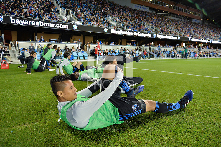 San Jose, CA - Saturday, March 11, 2017: Darwin Ceren during a Major League Soccer (MLS) match between the San Jose Earthquakes and the Vancouver Whitecaps FC at Avaya Stadium.