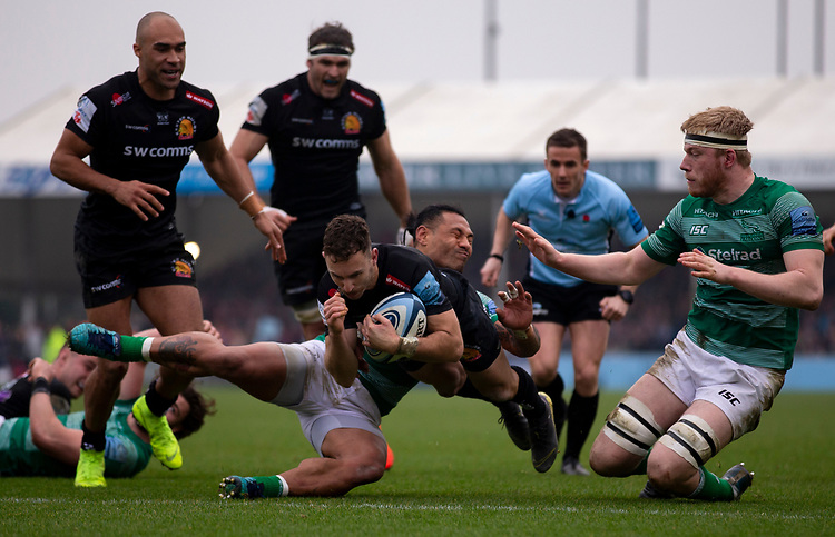 Exeter Chiefs' Nic White scores his sides fourth try<br /> <br /> Photographer Bob Bradford/CameraSport<br /> <br /> Gallagher Premiership - Exeter Chiefs v Newcastle Falcons - Saturday 23rd February 2019 - Sandy Park - Exeter<br /> <br /> World Copyright © 2019 CameraSport. All rights reserved. 43 Linden Ave. Countesthorpe. Leicester. England. LE8 5PG - Tel: +44 (0) 116 277 4147 - admin@camerasport.com - www.camerasport.com
