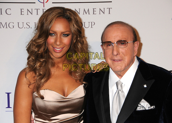 LEONA LEWIS & CLIVE DAVIS.Clive Davis 2008 Pre-Grammy Awards Party at the Beverly Hilton Hotel, Beverly Hills, California, USA..February 9th, 2008.half length beige silk satin dress black suit jacket glasses .CAP/ADM/BP.©Byron Purvis/Admedia/Capital Pictures