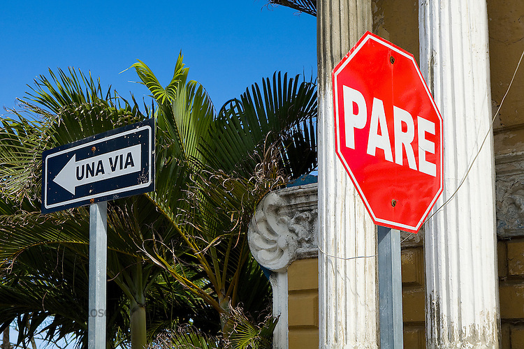 Spanish street signs on a corner in Puerto Plata, Dominican Republic