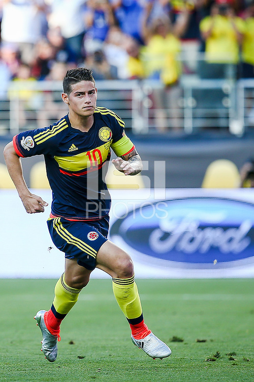 Action photo during the match United States vs Colombia, Corresponding Group -A- America Cup Centenary 2016, at Levis Stadium<br /> <br /> Foto de accion durante e partido Estados Unidos vs Colombia, Correspondiante al Grupo -A-  de la Copa America Centenario USA 2016 en el Estadio Levis, en la foto: James Rodriguez celebra su gol de Colombia<br /> <br /> 03/06/2016/MEXSPORT/German Alegria.