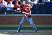 Taber Mongero (23) of the Gardner-Webb Runnin' Bulldogs squares to bunt against the Wake Forest Demon Deacons at David F. Couch Ballpark on February 18, 2018 in  Winston-Salem, North Carolina. The Demon Deacons defeated the Runnin' Bulldogs 8-4 in game one of a double-header.  (Brian Westerholt/Four Seam Images)