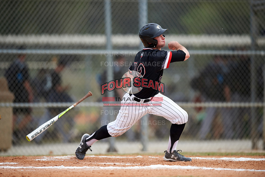 Edgewood College Eagles Jeff Tucker (19) at bat during the second game of a doubleheader against Western Connecticut Colonials on March 13, 2017 at the Lee County Player Development Complex in Fort Myers, Florida.  Edgewood defeated Western Connecticut 2-1.  (Mike Janes/Four Seam Images)
