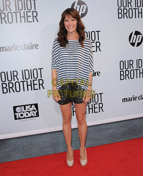 "Katie Aselton.""Our Idiot Brother"" Los Angeles Premiere held at Arclight Cinemas, Hollywood, California, USA..August 16th, 2011.full length top black shorts  black white striped stripes beige shoes    .CAP/RKE/DVS.©DVS/RockinExposures/Capital Pictures."