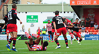 Lincoln City's Harry Toffolo scores his sides third goal<br /> <br /> Photographer Chris Vaughan/CameraSport<br /> <br /> The EFL Sky Bet League Two - Lincoln City v Swindon Town - Saturday 11th August 2018 - Sincil Bank - Lincoln<br /> <br /> World Copyright &copy; 2018 CameraSport. All rights reserved. 43 Linden Ave. Countesthorpe. Leicester. England. LE8 5PG - Tel: +44 (0) 116 277 4147 - admin@camerasport.com - www.camerasport.com