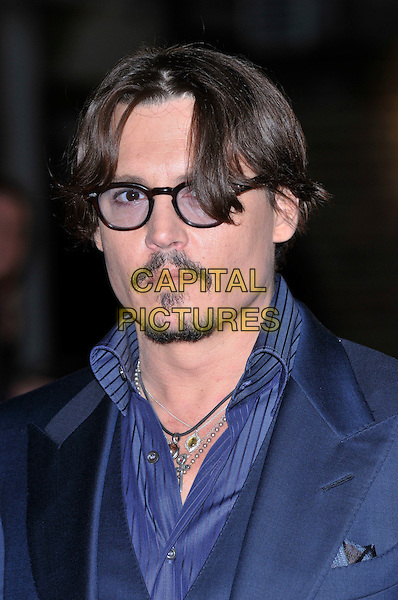 Johnny Depp.'The Rum Diary' European film premiere, Odeon Kensington cinema, London, England..3rd November 2011.headshot portrait blue tinted glasses goatee moustache mustache facial hair.CAP/PL.©Phil Loftus/Capital Pictures.