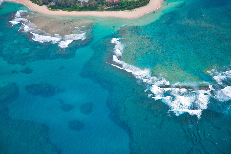 Tunnels Beach from the air. Kauai, Hawaii.