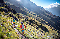 Trail running in Verbier on day one of the Via Valais, a multi-day running tour connecting Verbier and Zermatt, Switzerland.