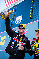 Aug 18, 2019; Brainerd, MN, USA; NHRA pro stock driver Jason Line celebrates after winning the Lucas Oil Nationals at Brainerd International Raceway. Mandatory Credit: Mark J. Rebilas-USA TODAY Sports
