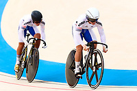 Picture by Alex Whitehead/SWpix.com - 10/12/2017 - Cycling - UCI Track Cycling World Cup Santiago - Velódromo de Peñalolén, Santiago, Chile - Republic of Korea's Wongyeong Kim and Hyejin Lee compete in the Women's Team Sprint qualifying.