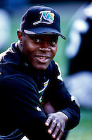 Quinten McCracken of the Tampa Bay Devil Rays plays in a baseball game at Edison International Field during the 1998 season in Anaheim, California. (Larry Goren/Four Seam Images)
