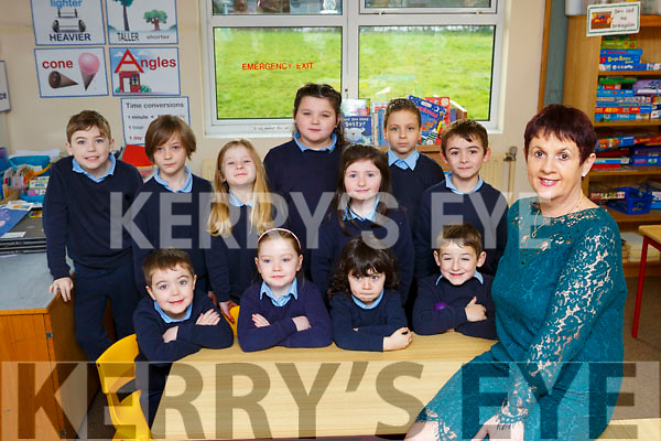 Deloras Johnston Principal of Douglas NS, Killorglin at  on her last day at school with her class front row l-r: Jack Flynn, Bernie Carter, Joe O'Dwyer, AJ Caulder. Back row: Dylan ahern, Darragh carroll, Aisling Carroll, Lily May Mullane, Caoimhe Hurley, Robert Bukaj and Liam Walker