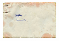 The envelope of a letter which Kenneth's mother gave to him shortly before she passed away. The letter reads: 'Hi Kenneth Son, Well what can I say about you, except the world stopped the day I had you. You were my first born.son and you made me so happy. I know you've been a wee tear away, but I know you going to make a good man of yourself and make a good daddy. I love you son with all my heart. Look after Robert + Alan and always love one and other. Love Mum PS: Your a handsome big boy.'..