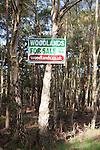 Sign advertising woodlands for sale, Hollesley, Suffolk, England
