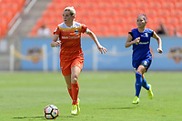 Houston, TX - Saturday May 27, 2017: Kealia Ohai brings the ball up the field during a regular season National Women's Soccer League (NWSL) match between the Houston Dash and the Seattle Reign FC at BBVA Compass Stadium.