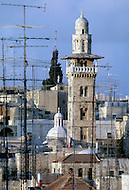 Jerusalem, Israel, November, 1980. View of the Dome of the Rock minaret.