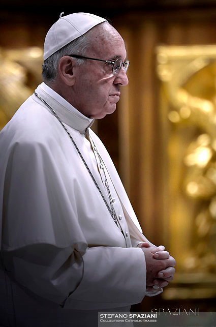 "Pope Francis  During The ""To Dry the Tears"" vigil for people in suffering, to mark the Catholic feast of Ascension at the Saint Peter's Basilica in the Vatican. On May 5, 2016"