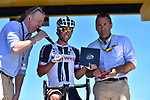 Yesterday's stage winner Michael Matthews (AUS) Team Sunweb receives his plaque from Thierry Gouvenau ASO at sign on before Stage 15 of the 104th edition of the Tour de France 2017, running 189.5km from Laissac-Severac l'Eglise to Le Puy-en-Velay, France. 16th July 2017.<br /> Picture: ASO/Pauline Ballet | Cyclefile<br /> <br /> <br /> All photos usage must carry mandatory copyright credit (&copy; Cyclefile | ASO/Pauline Ballet)