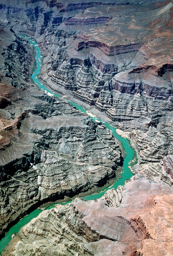 Aerial view of the Colorado River cutting through the Grand Canyo