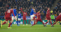 26th December 2019; King Power Stadium, Leicester, Midlands, England; English Premier League Football, Leicester City versus Liverpool; Jamie Vardy of Leicester City takes a shot at goal but goes wide - Strictly Editorial Use Only. No use with unauthorized audio, video, data, fixture lists, club/league logos or 'live' services. Online in-match use limited to 120 images, no video emulation. No use in betting, games or single club/league/player publications