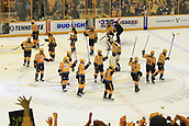 June 5th 2017, Nashiville, TN, USA;  The Nashville Predators acknowledge their fans at the conclusion of Game 4 of the Stanley Cup Final between the Nashville Predators and the Pittsburgh Penguins, held on June 5, 2017, at Bridgestone Arena in Nashville, Tennessee. Nashville defeated Pittsburgh 4-1 to even the series at two games each.