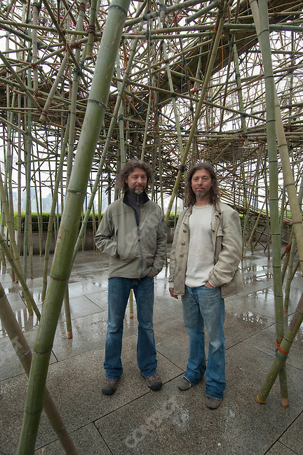 "Doug and Mike Starn with their installation ""Big Bambu"", on the roof of the Metropolitan Museum of Art, New York City, New York, April 26, 2010"