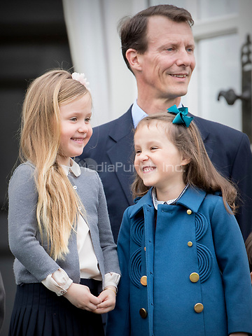 Princess Josephine, Princess Athena and Prince Joachim of Denmark attend the 77th birthday celebrations of Queen Margrethe at Marselisborg palace in Aarhus, Denmark, 16 April 2017. Photo: Patrick van Katwijk Foto: Patrick van Katwijk/Dutch Photo Press/dpa /MediaPunch ***FOR USA ONLY***