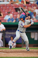 South Bend Cubs first baseman Austin Upshaw (16) at bat during a game against the Kane County Cougars on July 23, 2018 at Northwestern Medicine Field in Geneva, Illinois.  Kane County defeated South Bend 8-5.  (Mike Janes/Four Seam Images)