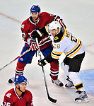 24 September 2009: Montreal Canadiens' defenseman Ryan O'Byrne (3) defends his crease against right wing forward Mark Recchi (28) during a game against the Boston Bruins at the Bell Centre in Montreal, Quebec, Canada. The Bruins edged out the Canadiens 2-1 in an overtime shootout of their pre-season matchup. Mandatory Credit: Ed Wolfstein Photo