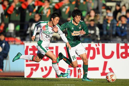 (L-R) Ginga Shimizu (), Takaaki Sumikawa (), <br /> JANUARY 5, 2017 - Football / Soccer : <br /> 95th All Japan High School Soccer Tournament Quater Final between Shochi Fukaya 1-3 Aomori Yamada<br /> at Kawasaki Todoroki Stadium, Kanagawa, Japan.<br /> (Photo by AFLO SPORT)