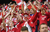 (180616) -- SARANSK, June 16, 2018 -- Fans of Denmark cheer for their team before a group C match between Peru and Denmark at the 2018 FIFA World Cup WM Weltmeisterschaft Fussball in Saransk, Russia, June 16, 2018. ) (SP)RUSSIA-SARANSK-2018 WORLD CUP-GROUP C-PERU VS DENMARK HexCanling <br /> Saransk 16-06-2018 Football FIFA World Cup Russia  2018 <br /> Peru - Denmark / Peru - Danimarca <br /> Foto Xinhua/Imago/Insidefoto