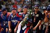 Verizon IndyCar Series<br /> Indianapolis 500 Race<br /> Indianapolis Motor Speedway, Indianapolis, IN USA<br /> Sunday 28 May 2017<br /> Takuma Sato, Michael Andretti Autosport Honda celebrates the win on track with Michael Andretti at the yard of bricks<br /> World Copyright: Scott R LePage<br /> LAT Images<br /> ref: Digital Image lepage-170528-indy-10659<br /> ref: Digital Image lepage-170528-indy-10736