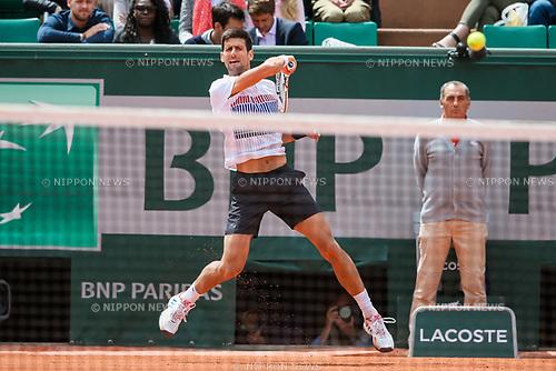 Novak Djokovic (SRB), JUNE 7, 2017 - Tennis : Novak Djokovic of Serbia during the Men's singles quarter-final match of the French Open tennis tournament against Dominic Thiem of Austria at the Roland Garros in Paris, France. (Photo by AFLO)