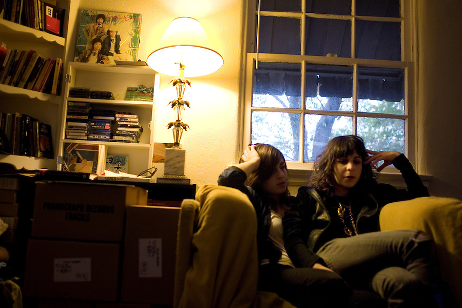 Los Angeles, Calif., Dec. 16, 2008 - Ramona Gonzalez (L) and Emily Jane of the band Nite Jewel in Ms. Gonzalez's home in the Echo Park section of Los Angeles.