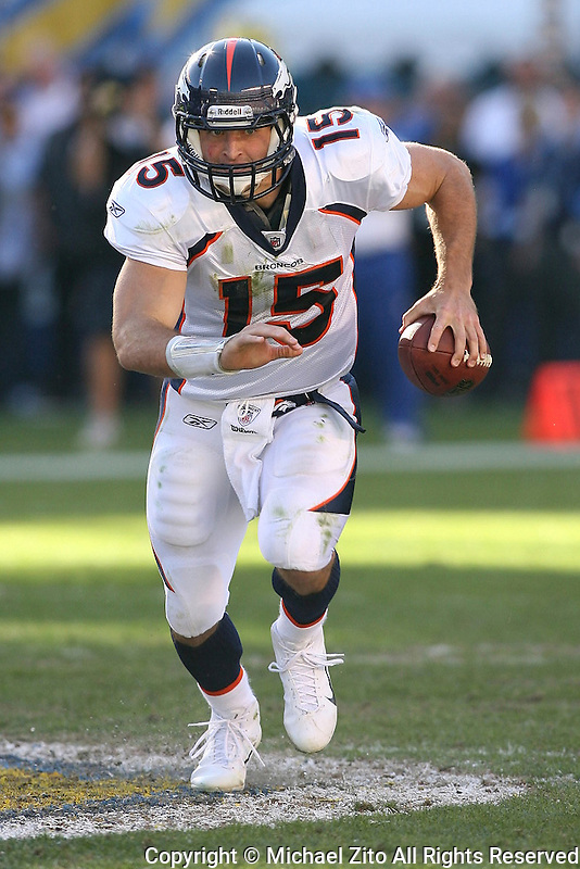 11/27/11 San Diego, CA: Denver Broncos quarterback Tim Tebow #15 during an NFL game played between the Denver Broncos and the San Diego Chargers at Qualcomm Stadium. The Broncos defeated the Chargers 16-13 in OT