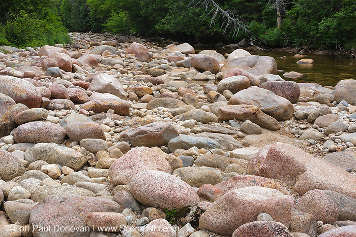 The rocky East Branch of the Pemigewasset River in the Pemigewasset Wilderness of Lincoln, New Hampshire during the summer months.