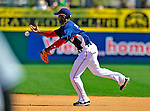 10 March 2009: Washington Nationals infielder Freddie Bynum bobbles a grounder during a Spring Training game against the New York Mets at Space Coast Stadium in Viera, Florida. The Nationals and Mets tied 5-5 in the 10-inning Grapefruit League matchup. Mandatory Photo Credit: Ed Wolfstein Photo