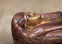 Acient Egyptian sacophagus of Kha -  inner coffin from  tomb of Kha, Theban Tomb 8 , mid-18th dynasty (1550 to 1292 BC), Turin Egyptian Museum.