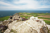 Garn Fawr Fort looking towards March Mawr near Strumble Head on the Pembrokeshire Coast, Wales, Uk