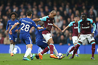 West Ham United's Joao Mario and Chelsea's Ngolo Kante<br /> <br /> Photographer Rob Newell/CameraSport<br /> <br /> The Premier League - Chelsea v West Ham United - Sunday 8th April 2018 - Stamford Bridge - London<br /> <br /> World Copyright &copy; 2018 CameraSport. All rights reserved. 43 Linden Ave. Countesthorpe. Leicester. England. LE8 5PG - Tel: +44 (0) 116 277 4147 - admin@camerasport.com - www.camerasport.com