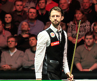 Judd Trump rues a glorious chance during the Dafabet Masters Quarter Final 2 match between Judd Trump and Neil Robertson at Alexandra Palace, London, England on 15 January 2016. Photo by Liam Smith / PRiME Media Images.