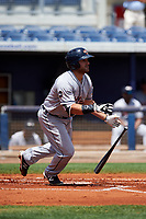 Lakeland Flying Tigers designated hitter Wade Hinkle (46) runs to first base during a game against the Charlotte Stone Crabs on April 16, 2017 at Charlotte Sports Park in Port Charlotte, Florida.  Lakeland defeated Charlotte 4-2.  (Mike Janes/Four Seam Images)