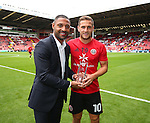 Kell Brook presents Billy Sharp with a memento of his 100th start for Sheffield Utd during the League One match at Bramall Lane Stadium, Sheffield. Picture date: September 17th, 2016. Pic Simon Bellis/Sportimage