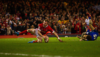 1st February 2020; Millennium Stadium, Cardiff, Glamorgan, Wales; International Rugby, Six Nations Rugby, Wales versus Italy; Nick Tompkins of Wales scores a try on his debut and make the score 26-0