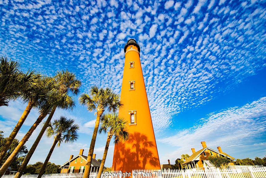 Ponce Inlet Lighthouse, Florida, Lighthouse Point Park, Buttermilk clouds along Atlantic Ocean, Built in 1867, Tallest lighthouse in Florida, Atlantic OCean