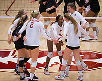 STANFORD, CA - November 15, 2017: Meghan McClure, Morgan Hentz, Kathryn Plummer, Tami Alade, Jenna Gray, Merete Lutz at Maples Pavilion. The Stanford Cardinal defeated USC 3-0 to claim the Pac-12 conference title.