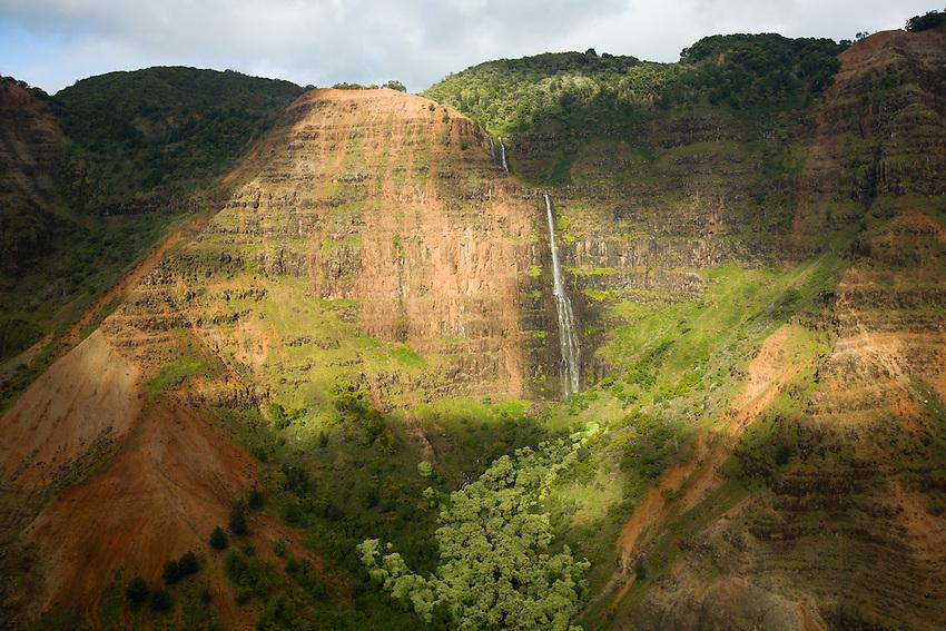 Aerial view of Waimea canyon and Waipo'o Falls on the island of Kauai, Hawaii, USA.