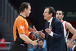 Movistar Estudiantes coach Salva Maldonado talking with the referee during Liga Endesa match between Movistar Estudiantes and San Pablo Burgos at Wizink Center in Madrid , Spain. March 25, 2018. (ALTERPHOTOS/Borja B.Hojas)