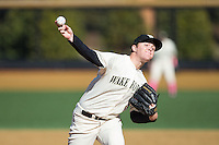 Wake Forest Demon Deacons relief pitcher Paul Kirkpatrick (42) in action against the Virginia Tech Hokies at Wake Forest Baseball Park on March 7, 2015 in Winston-Salem, North Carolina.  The Hokies defeated the Demon Deacons 12-7 in game one of a double-header.   (Brian Westerholt/Four Seam Images)