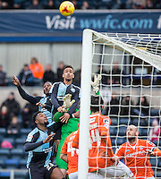Paris Cowan-Hall of Wycombe Wanderers rises highest to head his goal but the goal is disallowed during the Sky Bet League 2 match between Wycombe Wanderers and Luton Town at Adams Park, High Wycombe, England on 6 February 2016. Photo by Andy Rowland.